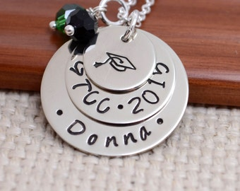 Personalized Necklace for Graduation, Senior Necklace, Class of 2018, High School, College, Gift, Graduation Cap, Hand Stamped Jewelry