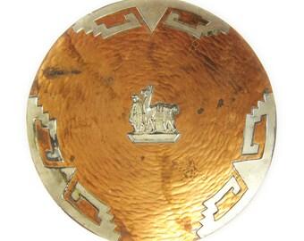 Hand-Hammered Peruvian Copper Decorative Plate