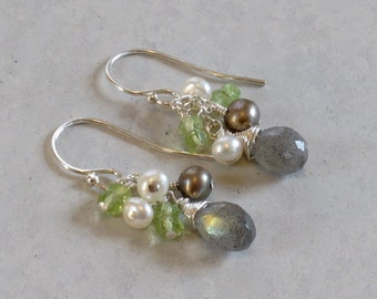 Labradorite, Peridot and Pearl Cluster Sterling Silver Earrings