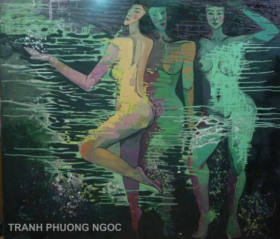 """THREE SISTERS 59x51"""" oil on canvas, nude art, wall decor, original painting by Nguyen Ly Phuong Ngoc"""