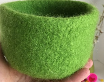 Felted Wool Bowl, Felted Bowl, Lime Green Felted Wool Bowl, Nesting Bowls, Home Decor, Mother's Day Gift, Table Decor, Graduation Gift