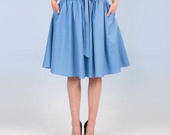Cotton skirt - sky blue
