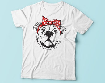 Bulldog with Bandana Shirt - Bulldog Love - Bulldog Tee