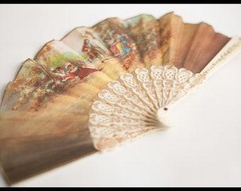Vintage twelve strands range, leaf representing a gallant scene in the taste of the eighteenth century sign v Ballester, bakelite strands