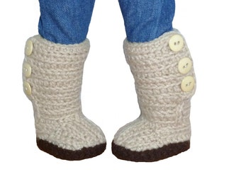 PDF CROCHET PATTERN - Mini Sweater Boots - Shoes fit American Girl Doll & other similar 18 inch dolls - Instant Download