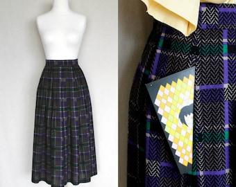 Womens XSmall Vintage Clothing\90s Clothing Plaid Wool Maxi Skirt\Purple Black Green Maxi Skirt\Pleated Skirt\Tartan Wool Skirt for Spring