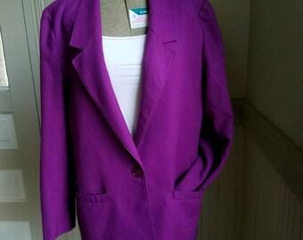 Vintage Miss Pendleton Wool Velvet Blazer 100% Wool Purple Size Medium