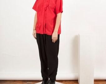 Red Oversized Blouse / Lace Summer Top / Pleated Short Sleeve Shirt