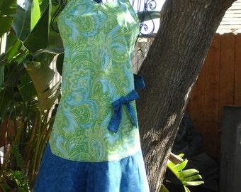 Lime Green & Blue Paisley Full Apron