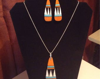 Santo domingo inspired gourd necklace and earring set