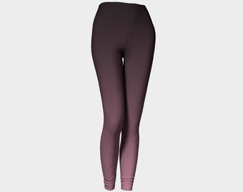 Black and pink ombre leggings, printed, hight waisted yoga pants, blush, by Felicianation Ink