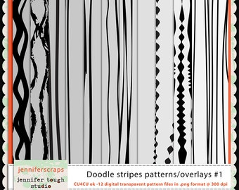 Instant Download - Set of 12 digital paper overlays/templates - Doodled Wavy Stripes Overlay Set 1 - CU4CU ok