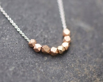 ROSE GOLD Tiny raw nugget necklace on delicate sterling silver chain