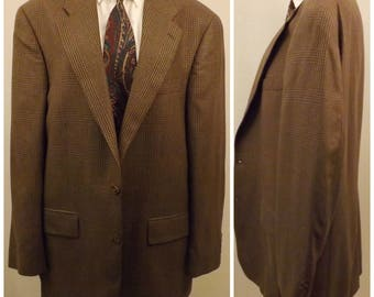 80s Polo Brown Glen Check Sport Coat Size 42R by Ralph Lauren