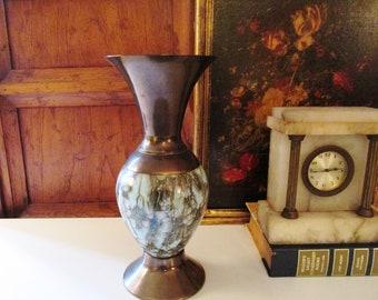 Vintage Holland Brass and Turquoise Ceramic Vase, Mid Century Modern Vase, Brass Delft Holland Vase