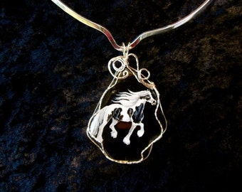Handpainted Gypsy Horse Pendant Wirewrapped