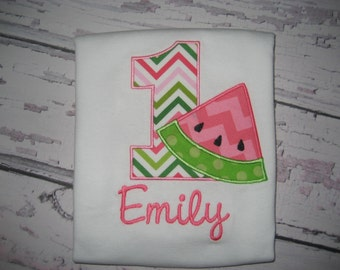 Baby Girl Birthday Watermelon bodysuit, watermelon monogrammed bodysuit, Summer Birthday, cake smash, watermelon outfit, first birthday