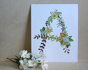 A - Floral Print - Initial Art Print - Floral Letter
