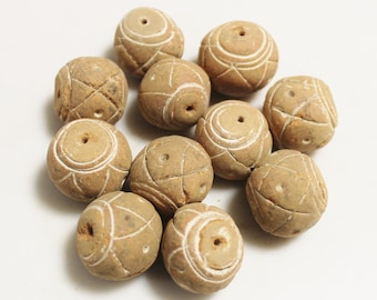 Large Natural Clay Beads From Mali, African Terra Cotta Beads, Jewelry Supplies (AH232)