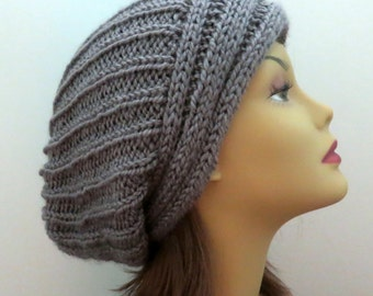PDF 163  Knitting Hat Pattern,  The Yvette Slouch Hat, Slouchy Hat, Easy Pattern, Knit Hat Pattern