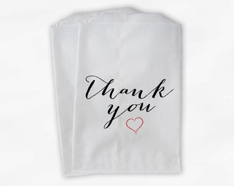 Thank You Handwritten Candy Treat Bags in Black and Red - Custom Heart Favor Bags for Wedding, Birthday, Shower - Paper Bags (0170)