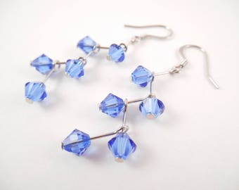Swarovski Zig-Zag Earrings - Blue Swarovski Zig-Zag Style Dangle Earrings