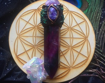 Fluorite Amethyst and Charoite Crystal Wand