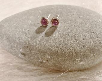 Sterling Silver Wire Wrap Purple Amethyst Stud Earrings