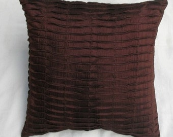 chocolate brown pin tuck silk cushion cover 16 inch decorative throw pillow cover