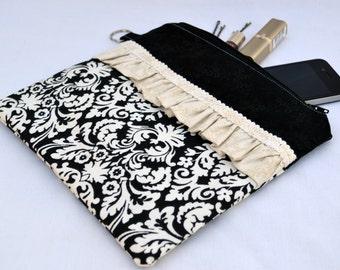 Damask bag, black clutch, large clutch purse, zipper pouch, bridal clutch, wedding purse, wristlet, cosmetic bag, womens gift, handbag