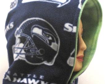 Seattle seahawks, Handmade, hooded scarf, football, hood, hoodie, scoody, scoodie, scarves