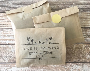Wedding Coffee Favor Bag Kit - Love is Brewing  Set of 24  | Coffee Favor Bag | Tea Favor Bag | Grease Resistant Favor Bag | LB_LF
