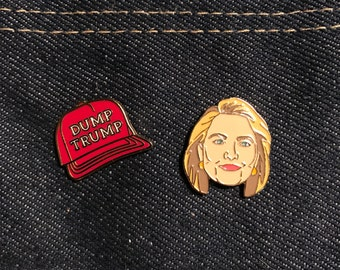 Hillary and Dump Trump Enamel Pins, 2016 Election, Jewelry, Art, Gift (PIN13, PIN54)