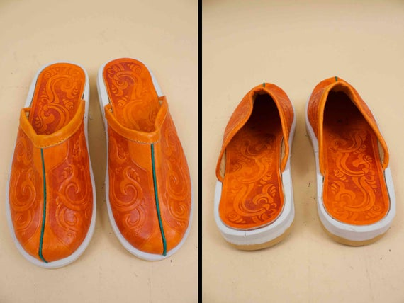 Leather Sandal 5 Mule Eu 37 TOOLED Genuine Slipper 6 Western Slip Hippie 70s 6 BOHO 36 Slides Motif Sienna NOS Deadstock On Vtg OHqx4IS