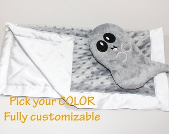 Gray Ghost Minky Security Blanket, Halloween baby blanket Lovey Blanket, Satin, Baby Blanket, Stuffed Animal, Baby Toy - Customize Color