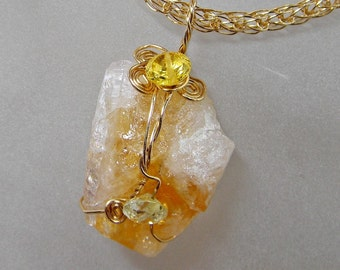 Raw Citrine Druzy Pendant Wire Wrapped in Gold on Viking Chain Good Luck Jewelry; Anniversary Birthday Druzy Gift for Her; Workplace Jewelry