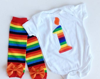 First Birthday Number 1 Candle One Piece with Rainbow Striped leg Warmers and bow