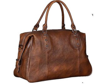 Leather Travel Bag, Brown Leather Weekender Bag, Rustic leather Duffel, Vacation Duffle, Large Leather Travel Bag for Men and Women