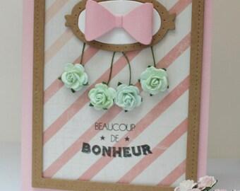 carte félicitations mariage, carte fait main , carte félicitations naissance fille , carte fleurs roses vert , carte noeud rose