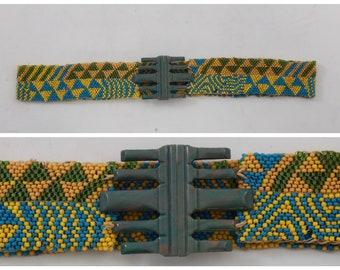 Vintage 1920s original glass bead belt with art deco buckle UK 6 8 US 2 4 XS S