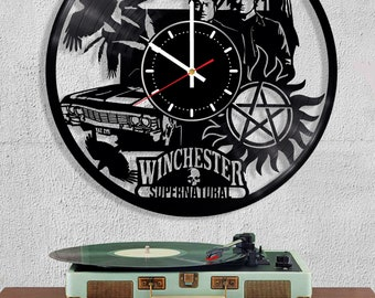 Vinyl Record Wall Clock Supernatural Sam Dean Winchester Castiel Angel TV Show Series  Handmade Decorate Gift Art Decor Home decor Clock