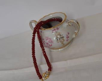 Red garnet jade, necklace, gemstones, 925 sterling silver, made in Italy