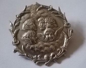 Vintage Silver Angels Cherubs Brooch Pin BEAUTIFUL