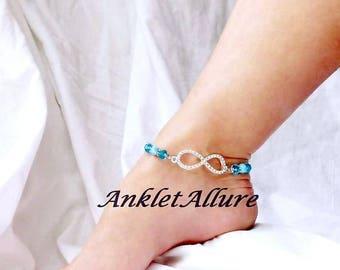 Anklet Ankle Bracelet Infinity Anklet Rhinestone Anklet Love Anklet Something Blue Gift