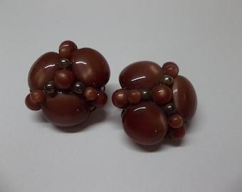 Vintage Brown Beaded Clip on Earrings