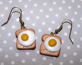 Egg on Toast, Earrings, Accessories, Fried Egg, Toast, Polymer, Clay, Free Shipping, Breakfast, Handmade, Jewelry, Earrings, Funky, Fun