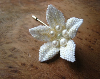 Flower Brooch/Hat/Hair Pin. Bridal Accessory or Gift. Beadstitched by hand with Real Pearls, Swarovski Crystals & Japanese Seed Beads.