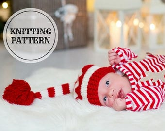KNITTING PATTERN ,Baby Elf Hat, Newborn Elf Hat,  Baby First Christmas, Baby Christmas Outfit, Long Tail Striped Hat, Christmas gift