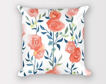Pillow cover 18 x 18, Pillow with insert, Throw pillow with insert, Throw pillow covers 18 x 18, Cushions with insert, Floral cushion cover