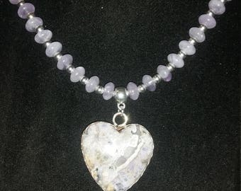 Burro Creek purple agate necklace and matching earrings